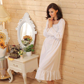 2017 Brand Sleep Lounge Women Sleepwear Cotton Solid White Long Nightgowns Sexy Home Dress Nightdress Plus Size #P15