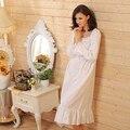 2017 Marca Salão Sono Das Mulheres Pijamas de Algodão Sólido Branco Longo Nightgowns Vestido de Casa Sexy Camisola Plus Size # P15