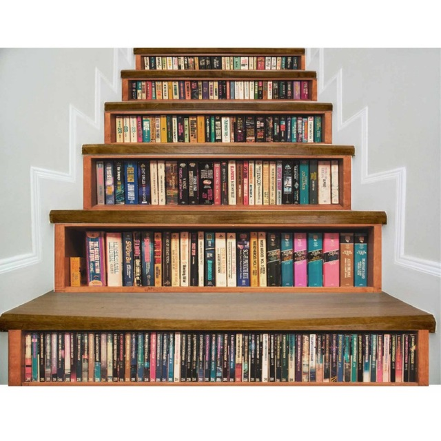 3D Bookshelf Cat Tiger Self Adhesive Staircases Sticker For Stairway DIY Removable Decoration Hallway Step