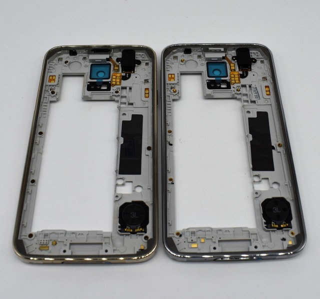 Original Mid Middle Frame Plate Bezel Housing + Camera Cover For Samsung Galaxy S5 G900F G900FD dual sim silver gold color