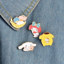 1 pcs cartoon moon melody metal badge brooch button pins denim jacket pin jewelry decoration badge for clothes lapel pins