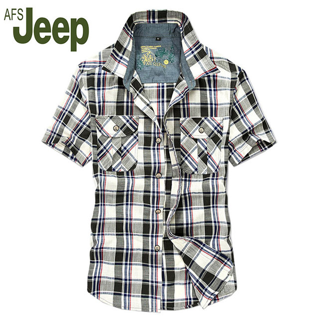2016 АФН JEEP летние модели взрыва мужские случайные рубашку прилив Battlefield Jeep мужская мода случайные короткими рукавами клетчатую рубашку 63