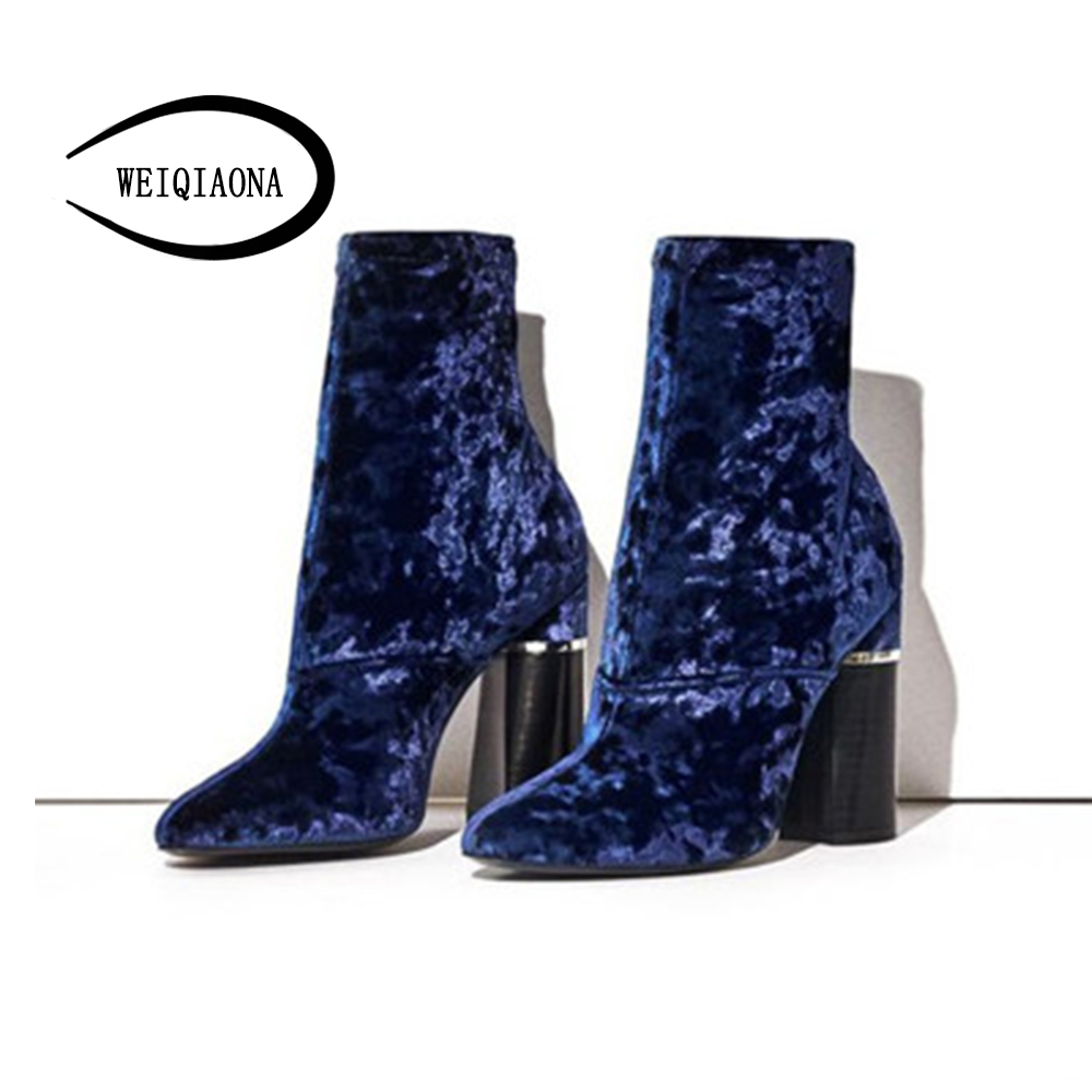 WEIQIAONA 2018 New Fashion Casual Winter Autumn Womens Boots Sexy Velvet High Heel Mid-Calf Boots Nightclub shoes Party shose