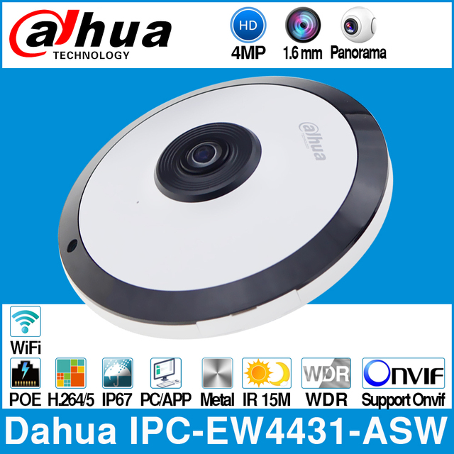 Dahua IPC EW4431 ASW 4MP Panorama 180 Degree POE WIFI Fisheye IP Camera Built in MIC SD Card Slot Audio Alarm In/Out Interface