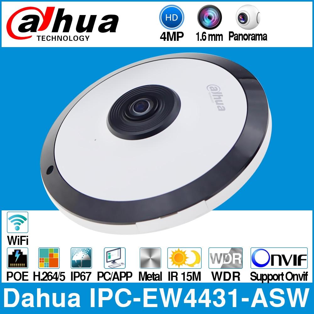 Dahua IPC-EW4431-ASW 4MP Panorama de 180 Graus Fisheye Câmera IP POE WI-FI Embutido Slot Para Cartão SD MIC Áudio Alarme In/ interface de saída