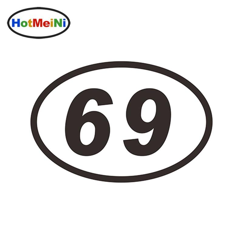 HotMeiNi 15 * 10 CM 69 SIXTY-NINE NUMMER OVAL JDM Reflective Classic Car Sticker Bumper Vinyl Decal Motocross Car Styling Decor