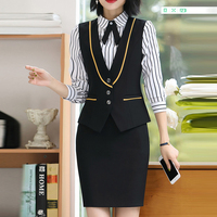 b396c49886 New Summer Work Wear Women Suits Skirt OL Plus Size 4XL Vest Uniform Female  Clothes Vest