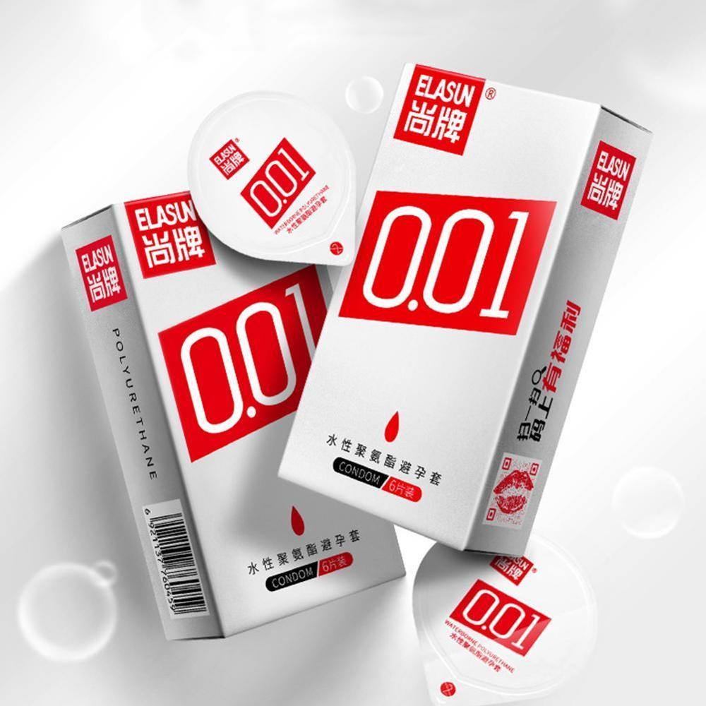 ELASUN 0,01mm 6pc super slim ultra dünn wie nicht tragen, 001 kondome für männer sex ORIGINAL KEIN Gummi Polyurethan