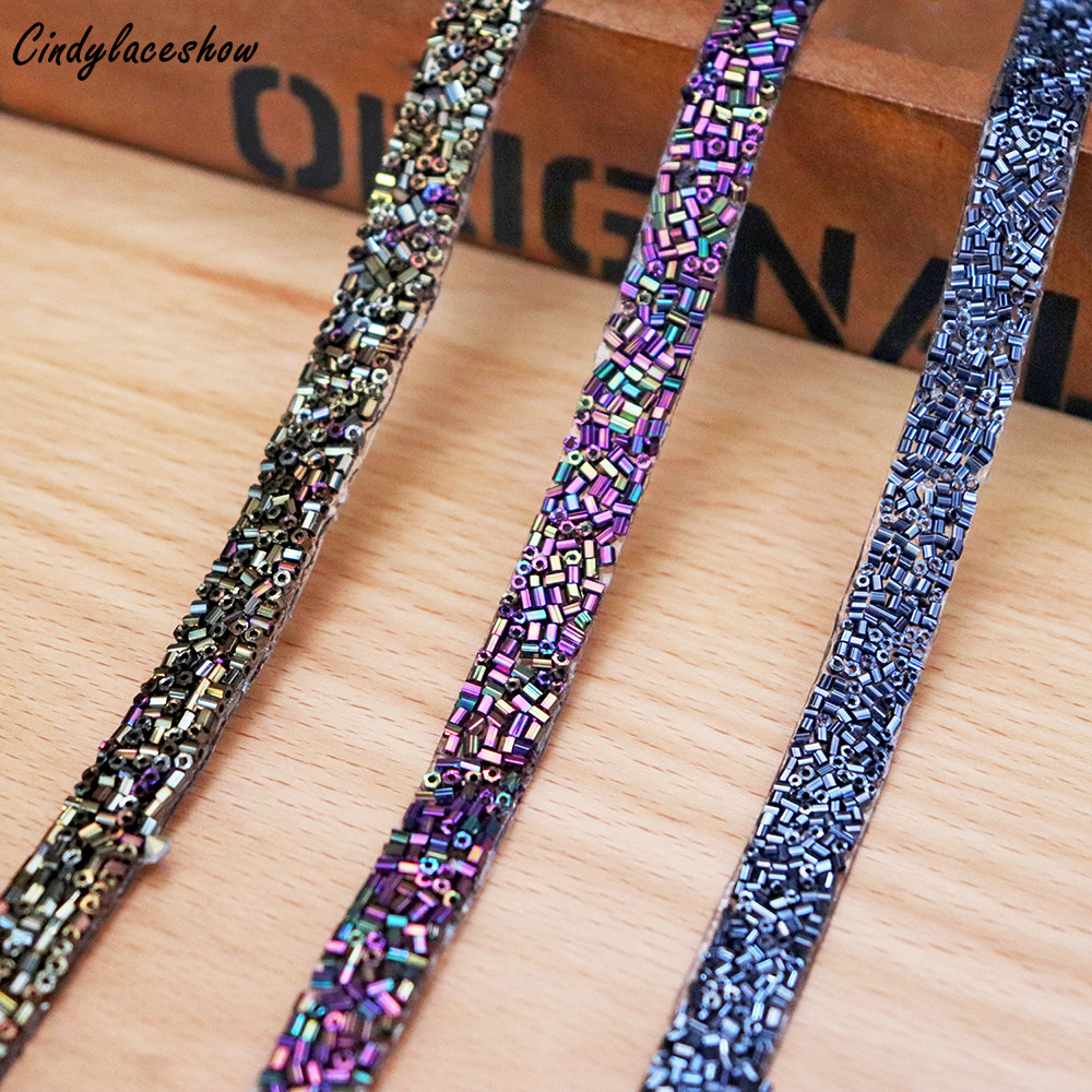 0 9cm Tube Beads Trim Iron On Sewing on Trims Ribbon Wrap Clothes Accessories DIY Bracelet Clothing Making DIY Garment Beads in Lace from Home Garden