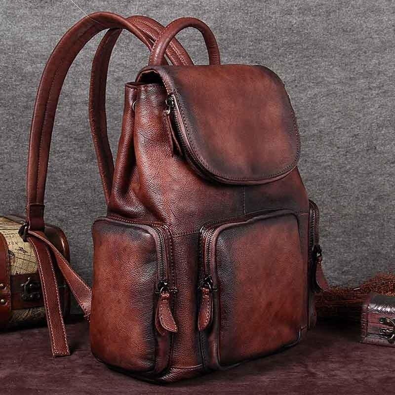 2017 new brand design womens backpack genuine leather vintage ladies travel backpacks luxury womens bag sac a dos femme mochilas