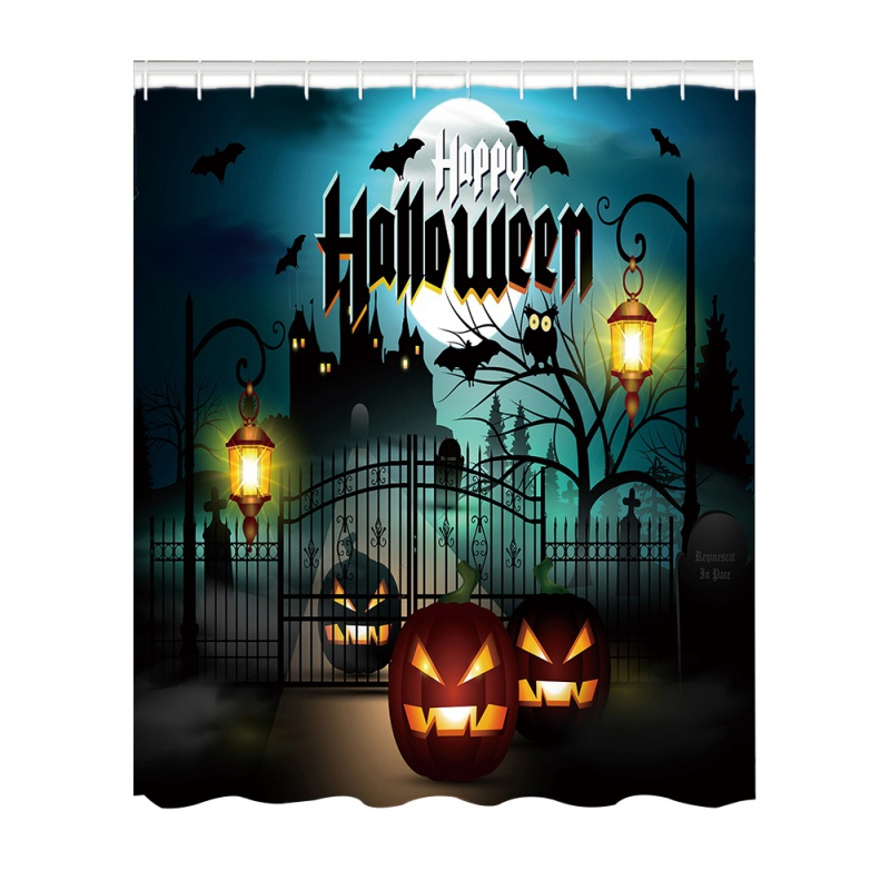 New Fun Halloween Shower Curtain 3D High-definition Digital Printing Waterproof Moisture-proof Mold Bathroom Curtains
