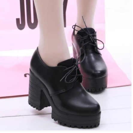 2018 bahar bağlama Yüksek Topuklu platformu kalın topuk yuvarlak ayak moda rahat ayakkabılar Kadın