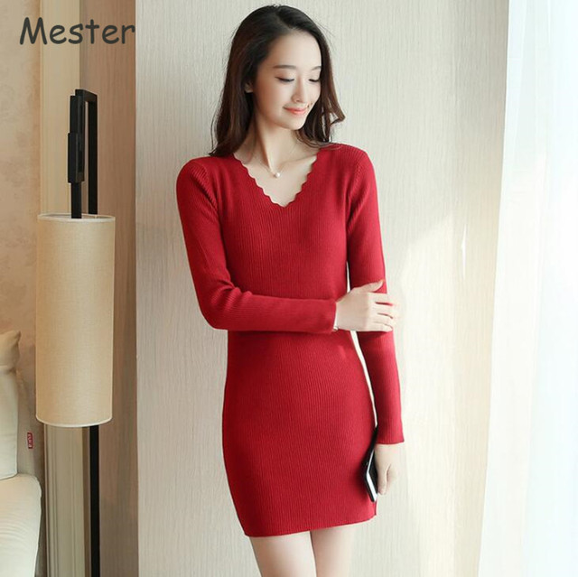 b7c1dfc92ca 2017 Spring Sawtooth V-Neck Long Sleeve Sweater Dress Sexy Club Slim Fit  Hip-Wrap Thick Knitted Mini Dresses Red White