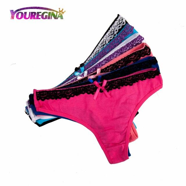 7ac1f07c9 YOUREGINA Women Sexy Lace Thongs G-strings Cotton Underwear Panties Ladies  Knickers Lingerie for Women 6 pcs lot