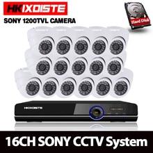 16Ch CVR CCTV AHD DVR Systeem Kit Waterdichte 16 Kanaals 720 p/1080 p HD CVR NVR DVR Met 16 stks Sony Dome 1200tvl 720 p Camera Systeem