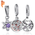 Authentic 925 Sterling Silver Crystal Forget Me Not Flower Snowflake Family Tree Charms Fit Original Pandora Bracelet for Women