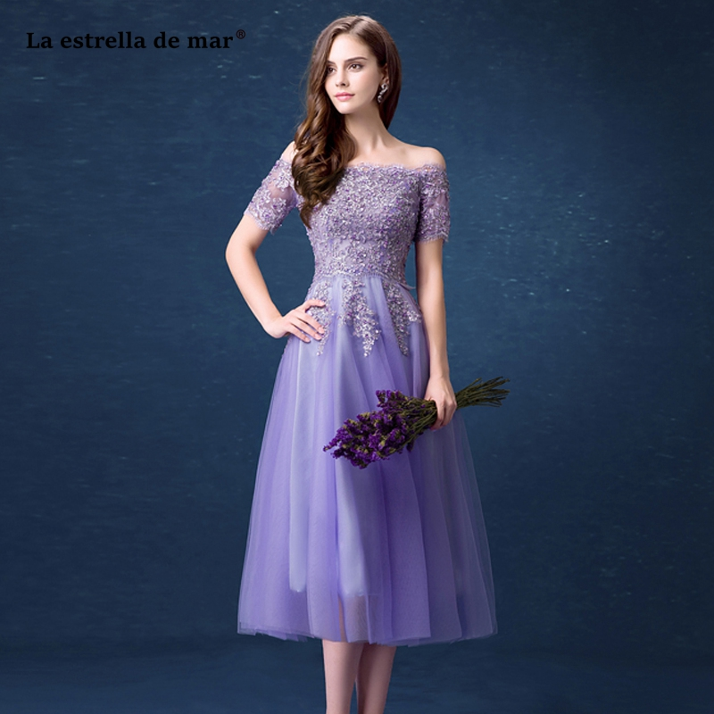 Vestido madrinha2019 new Boat Neck lace short sleeve A Line lilac   bridesmaid     dress   Tea Length vestido boda mujer invitada
