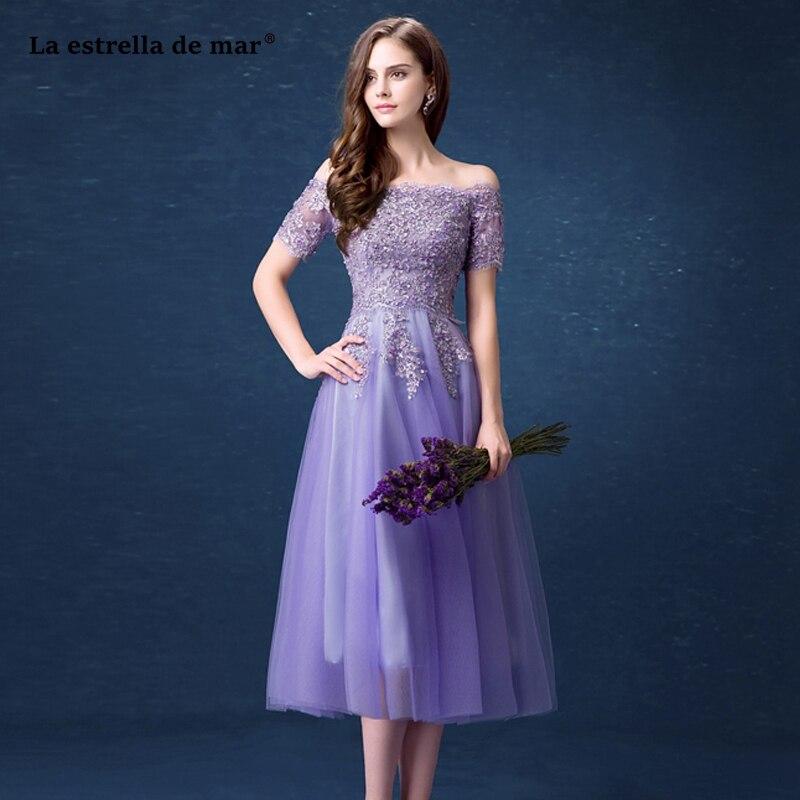 Vestido madrinha2019 nouveau col bateau dentelle manches courtes une ligne lilas demoiselle d'honneur robe thé longueur vestido boda mujer invitada