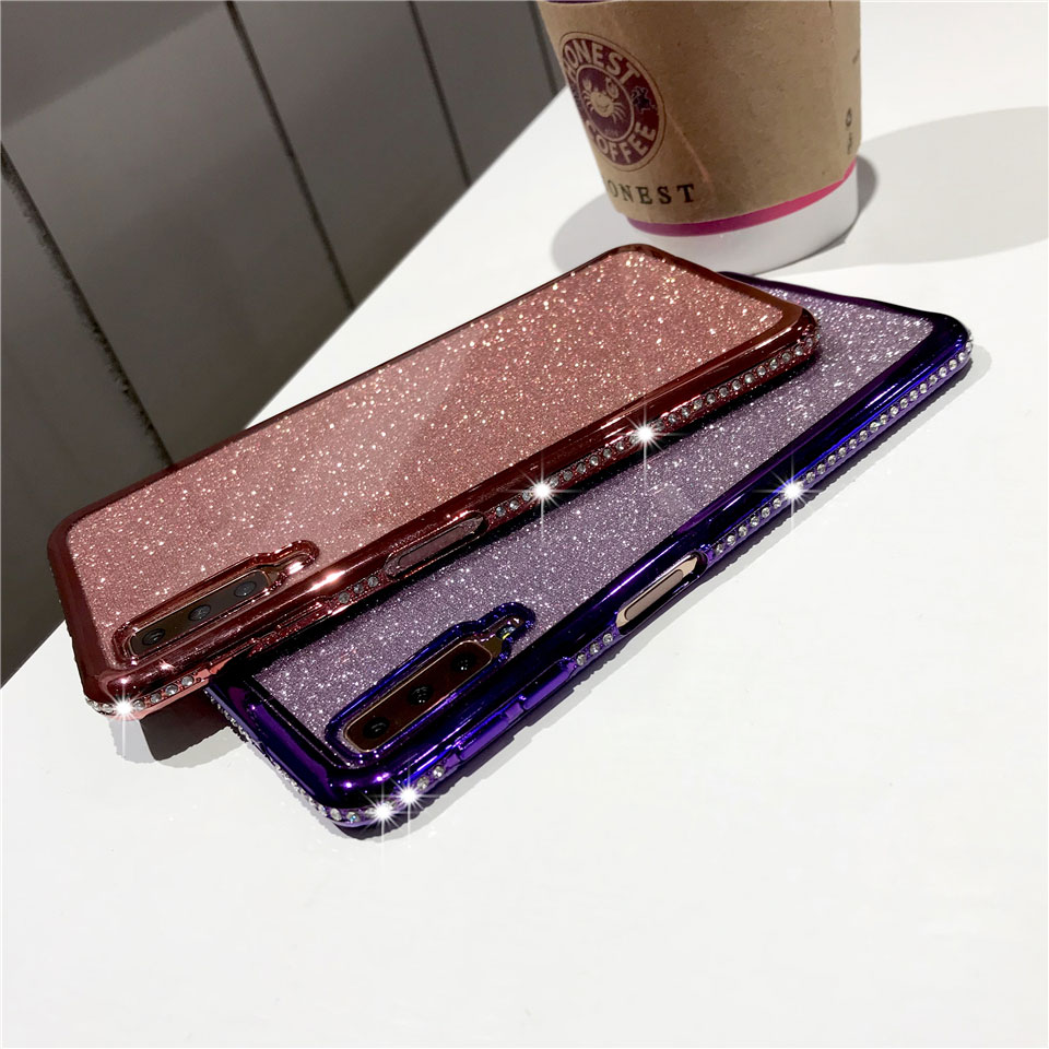 Diamond Case For Samsung Galaxy A7 A5 A6 A8 2018 Note 9 S10 E S9 S8 Cover Iphone XS MAX XR Plus X 6 6S 8 Glitter Bumper Case