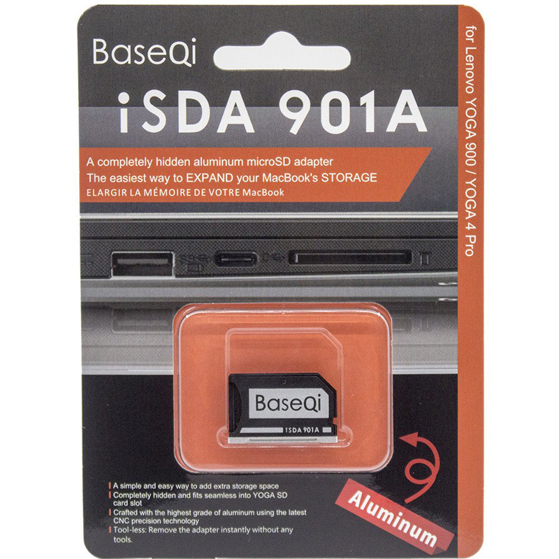 Original BASEQI aluminio Minidrive Microsd adaptador de tarjeta 901A para LENOVO YOGA900/Yoga710/Yoga720/ideapad/Yoga3 tarjeta adaptador de disco