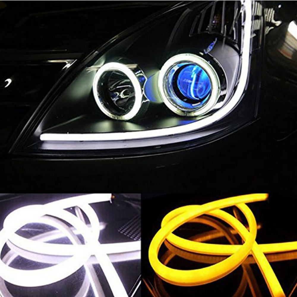 цены 2X 60cm Daytime Running Light Universial Flexible Soft Tube Guide Car LED Strip White DRL Yellow Turn Light