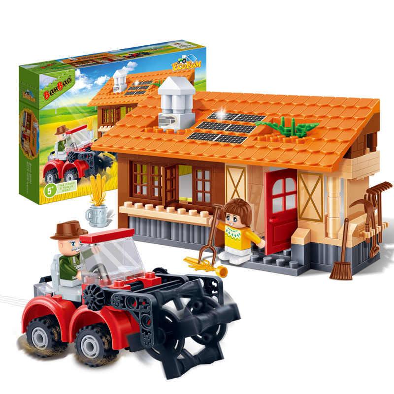 BanBao 8583 Сезон урожая трактор сельская ферма кирпичи развивающие строительные блоки модель игрушки для детей