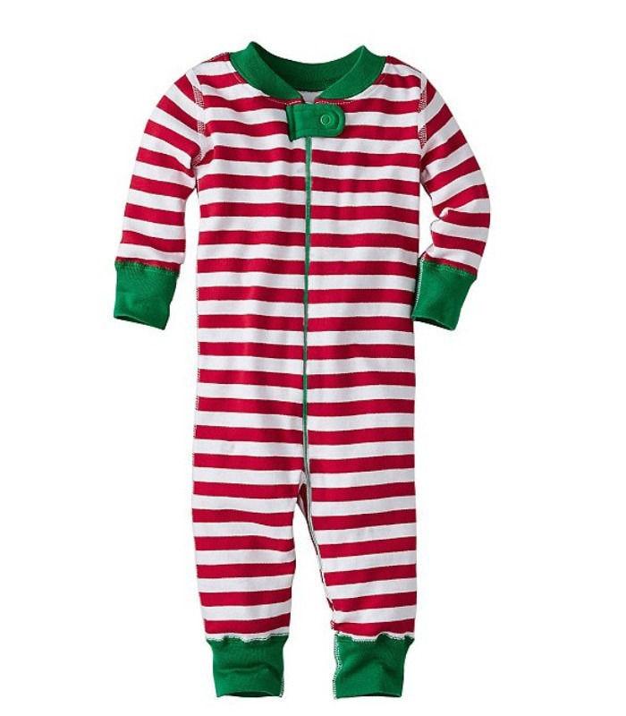 Рождественский классический хлопковый комбинезон в полоску для маленьких мальчиков и девочек, одежда для сна, пижамы, Рождественская одежда для сна унисекс, kigurumis - Цвет: Красный