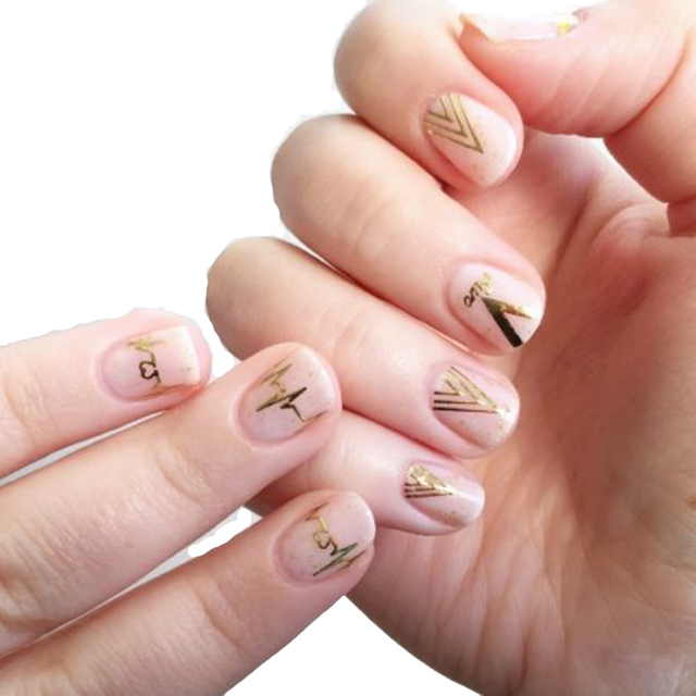 2pcs new design gold v shape heartbeat 3d nail stickers 2pcs new design gold v shape heartbeat 3d nail stickers personality nail art decals 2016 hot prinsesfo Image collections