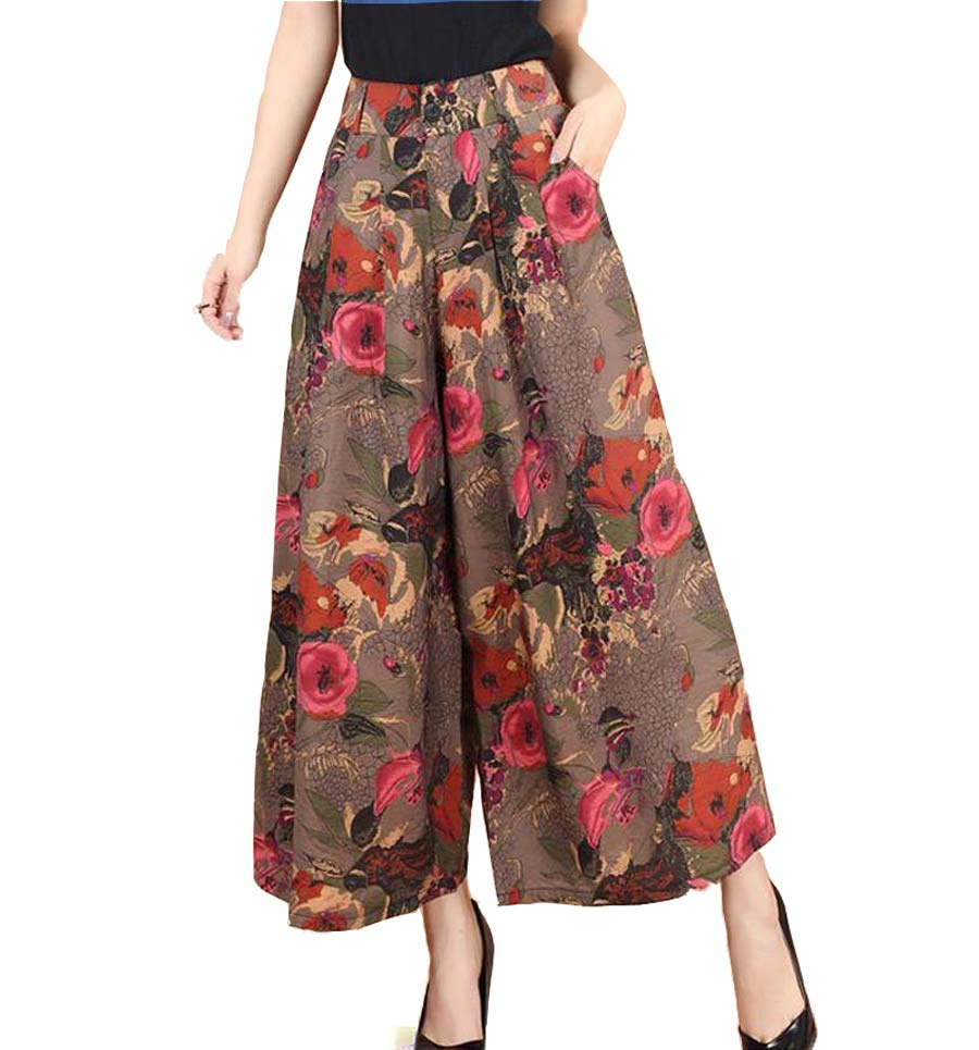 2016 New plus size 4XL summer cotton women printing national wind   pants   casual   pants   culottes women   wide     leg     pants   CE225