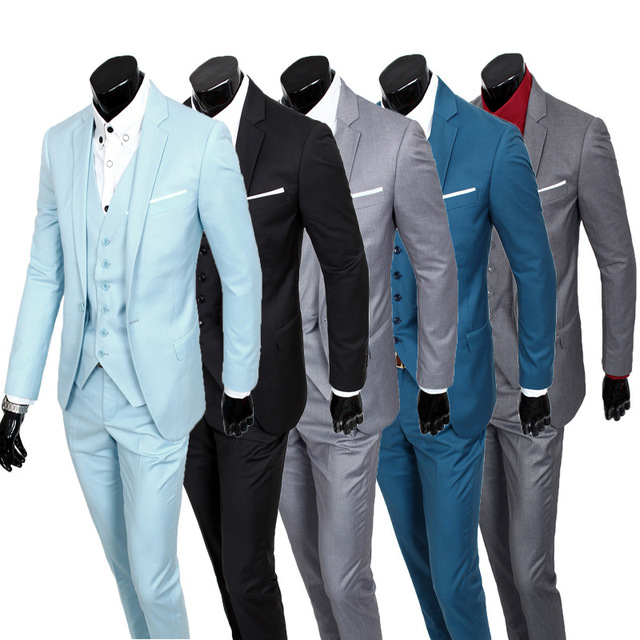 ( Jackets + Vest + Pants ) Groom High-grade Brand Cotton Solid Color Formal Suit Mens Casual Business Three-piece Suits Set Male