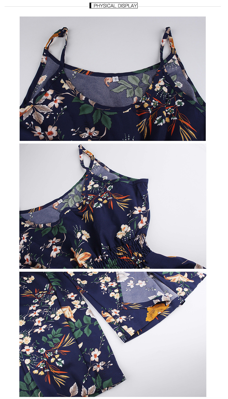 2019 women Super Comfy Floral Jumpsuit Fashion Trend Sling Print Loose Piece Trousers N20D in Pants amp Capris from Women 39 s Clothing