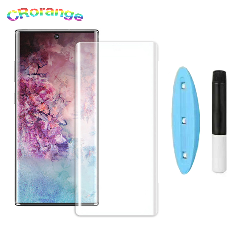 CR UV Glass Screen Protector For 1+7 Pro Case Friendly UV Liquid Full Glue Tempered Glass For Samsung Note10 Pro S8 S9 Plus Film