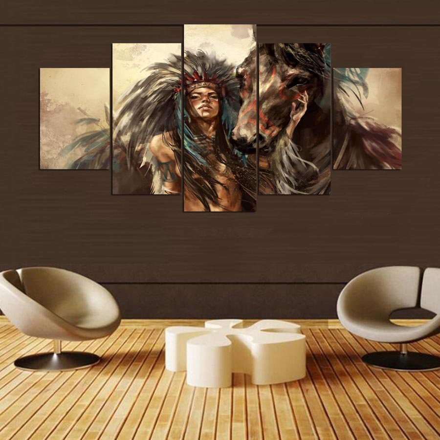 5-panel-hd-Native-American-girl-and-horse-Art-print-canvas-art-wall-framed-paintings-for (2)