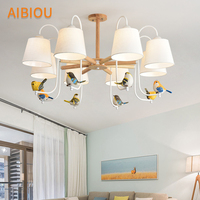 AIBIOU New Arrival Chandelier With Fabric Lampshades For Living Room Birds Chandeliers Decorative Lustre Dining Lighting Fixture