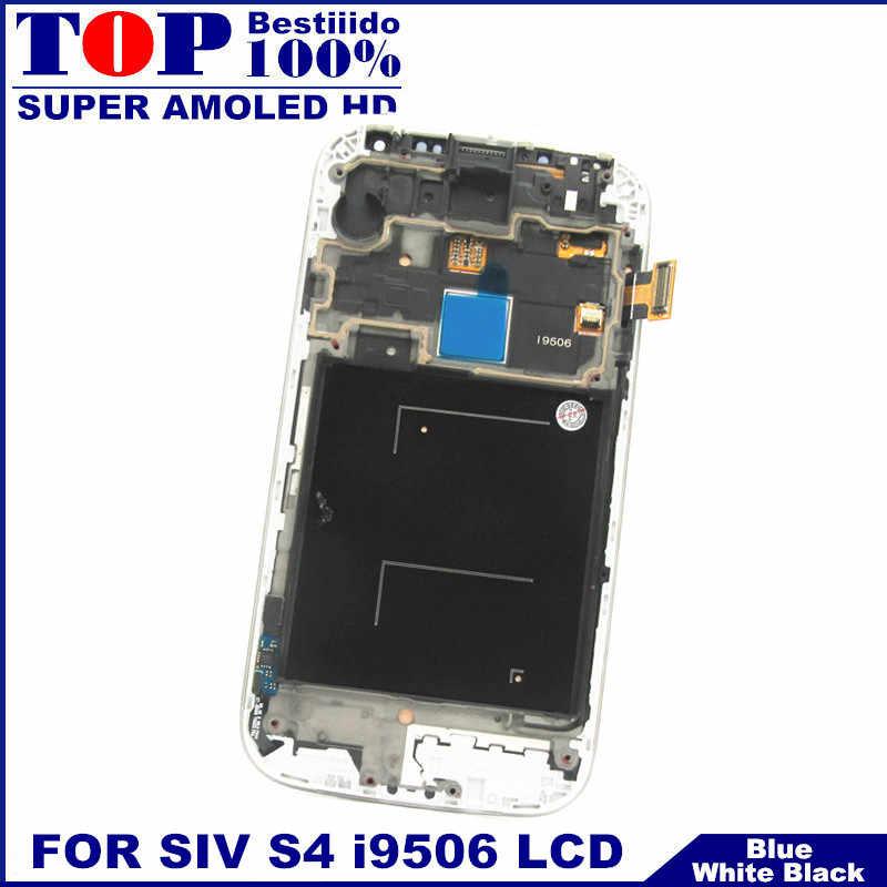 الاستشعار سوبر AMOLED شاشات الكريستال السائل قطع غيار سامسونج غالاكسي S4 i9506 شاشة هاتف LCD محول الأرقام بشاشة تعمل بلمس مع الإطار الحافة