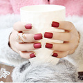 2016 Fashion Wine Red False Nail Set Full Finished Metal Frosted Fake Nail Tips Tool Nail Art Decal Square with Glue