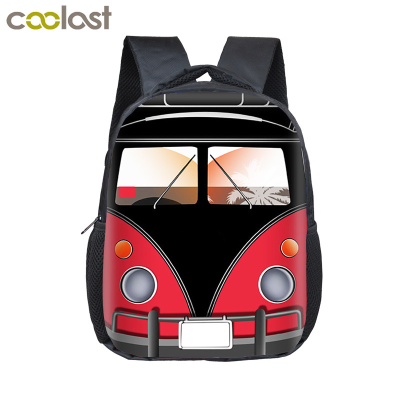 12 Inch Cartoon Car / Tank / Plane / Boat Print Backpack For Boys Children School Bags Small Baby Toddler Backpack Kids Bookbag
