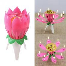 2018 Romantic Lotus Flower Happy Birthday Gift Music Candle