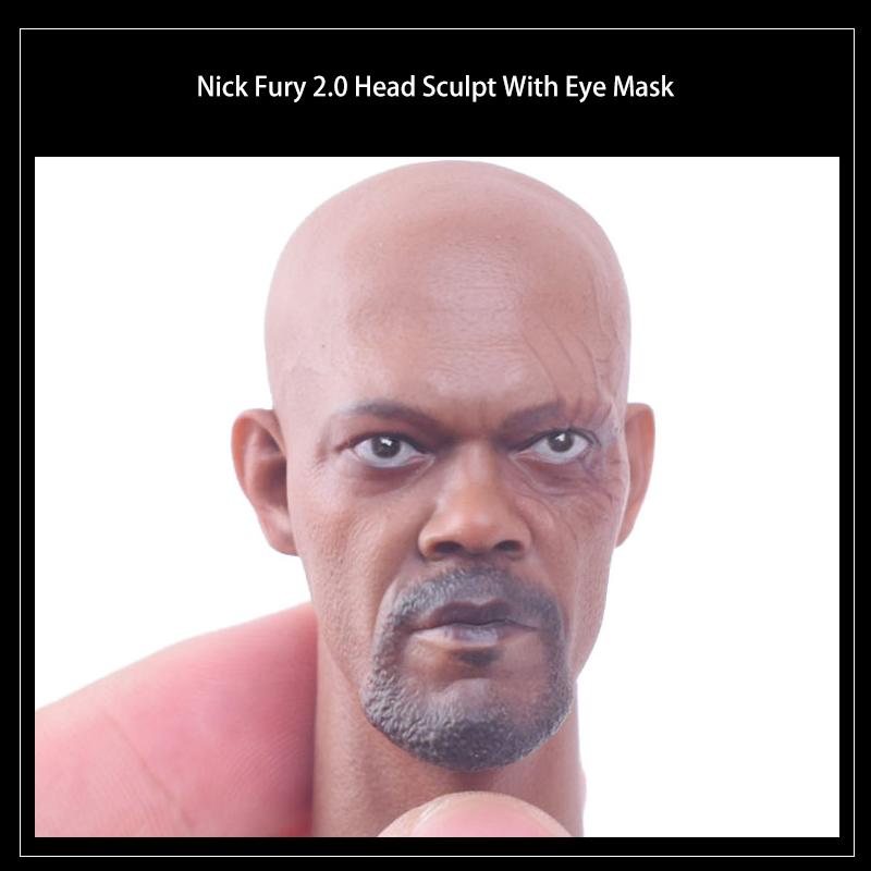 1/6 Scale Men's Samuel Jackson Black Skin Nick Fury 2.0 Head Sculpt with Eye Mask 12 Phicen HotToys Action Figure Accessories