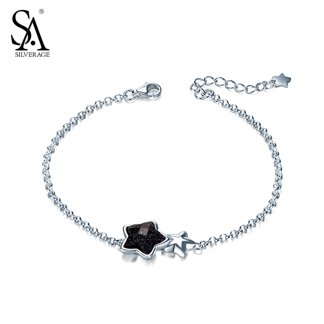 SILVERAGE Real 925 Sterling Silver Star Bracelet Fine Jewelry for Women Black Gemstone Aventurine 2016 New Design 11.11 Gift