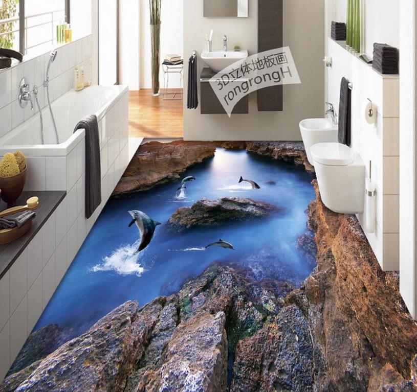 Custom 3d floor murals 3d stereoscopic dolphin reef floor waterproof self-adhesive 3D PVC photo wallpaper floors