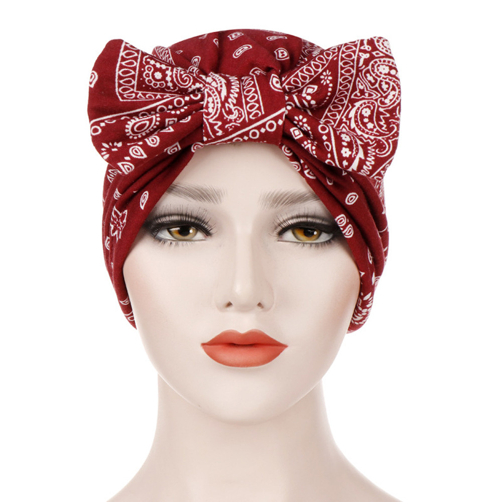 2019 NEW Hat Brand Women Bowknot Muslim Stretch Turban Hat Chemo Cap Hair Loss Head Scarf Wrap Cap High Quality C0411