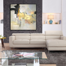 High Quality Pure Handmade Gold and Black Color Abstract Oil Painting on Canvas Modern No Frame for Home Decor