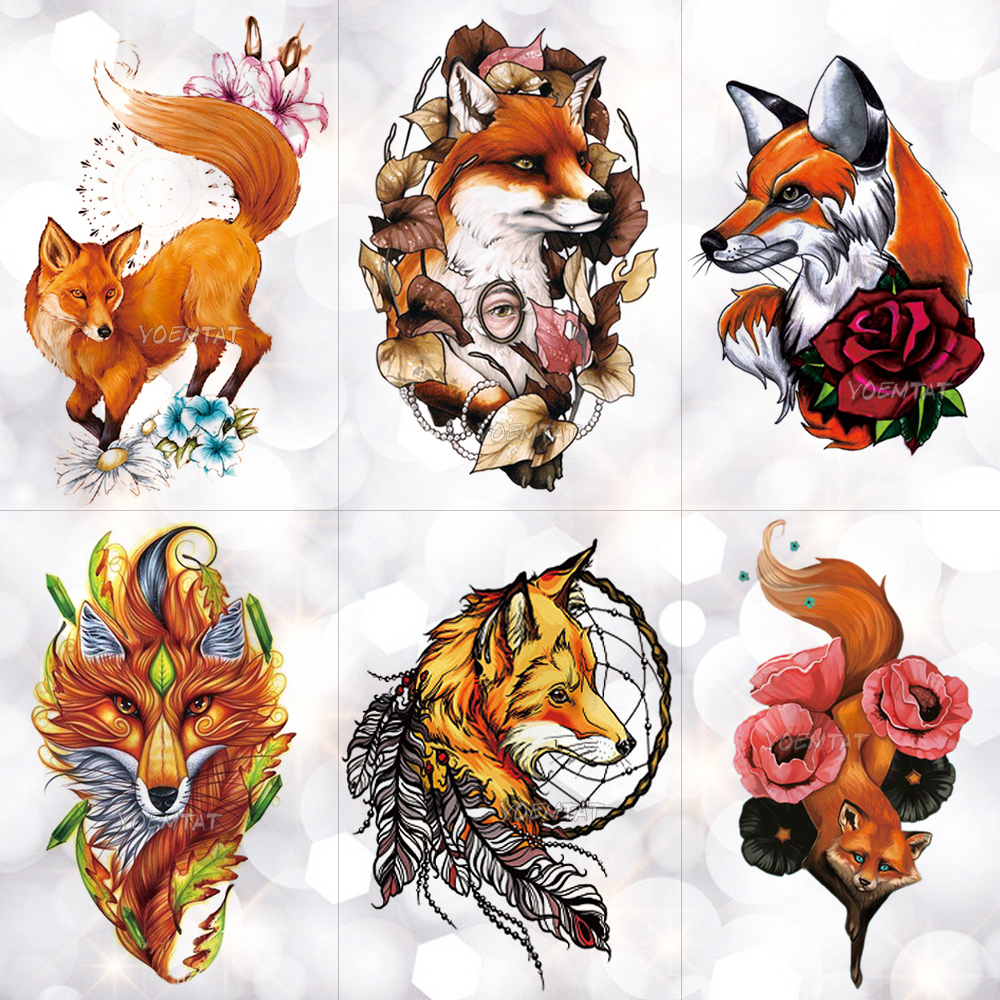 Watercolor Wolf Fox Totem Tiger Waterproof Temporary Tattoo Sticker Geometric Triangle Flash Tattoos Body Art Fake Tatoo