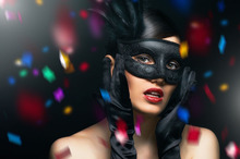 Black Halloween Masquerade Beautiful Painted Makeup Ball Half Face Fox Mask 10Pcs/lot