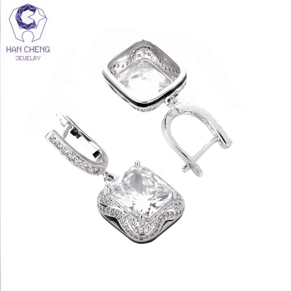 HanCheng חדש תלתן כסף מצופה להתנדנד תליית תליון CZ זירקון פנינה אבן זרוק עגילים לנשים תכשיטי brincos bijoux