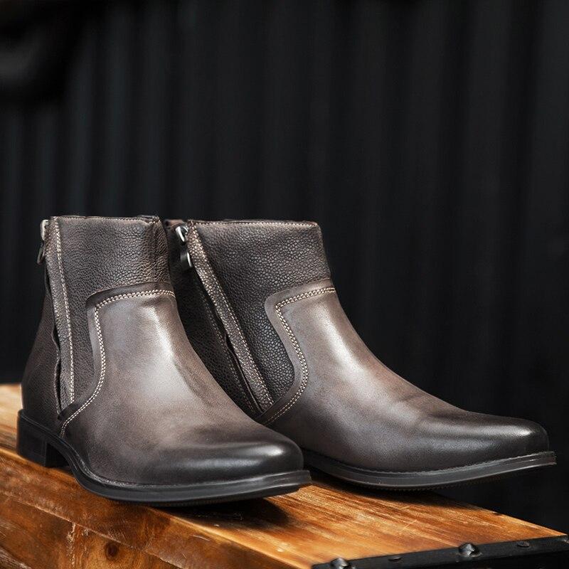 Yomior prawdziwej skóry szpiczasty nosek męskie buty jesień brytyjski formalne sukienka kostki buty luksusowe projektant czarne buty Chelsea w Buty sztyblety od Buty na  Grupa 1