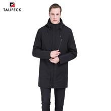 2019 Men Long Jacket Autumn Black Trench Coat Windbreaker Casual Warm Padded Mens Parka Homme Outwear