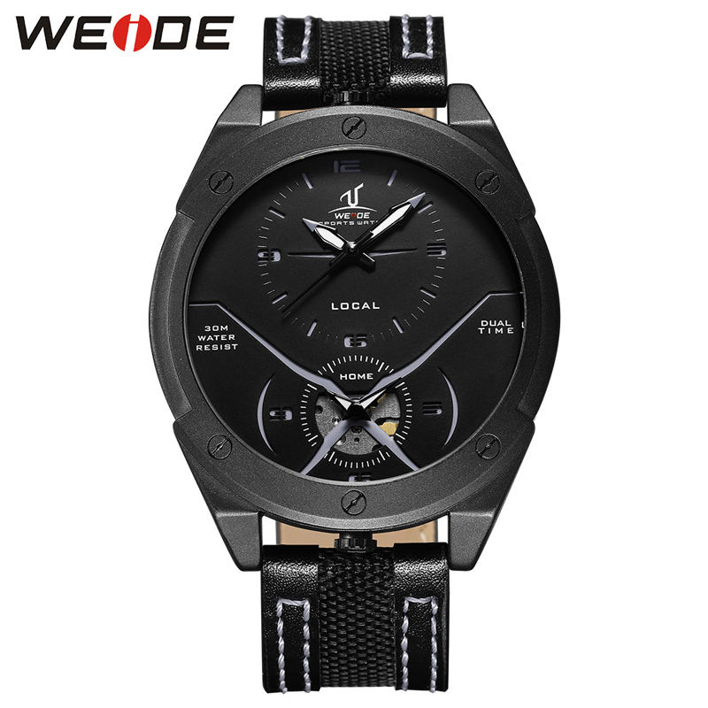 WEIDE Fashion Watches Men Casual Army Military Sports Watch Quartz Analog Leather Wrist Watch Clock Male Hour Relogio Masculino fashion casual watch men women unisex neutral clock roman numerals wood leather band analog hour quartz wrist watches 7550114 page 8