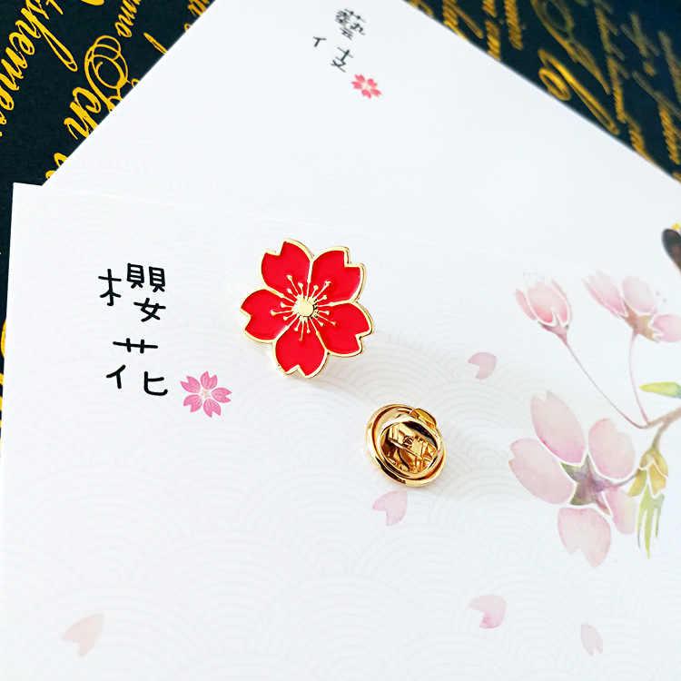 Qiaoyue ใหม่ 2019 sweet cherry blossom เข็มกลัดหยดดอกไม้ปลอกคอป้ายเสื้อผ้ากระเป๋าอุปกรณ์เสริมอุปกรณ์เสริมหญิง